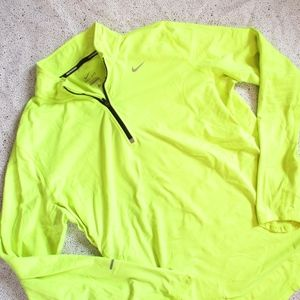 NIKE Neon Yellow Lightweight Quarter Zip